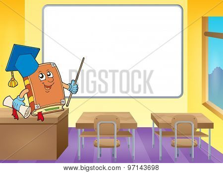 Book teacher by whiteboard - eps10 vector illustration.