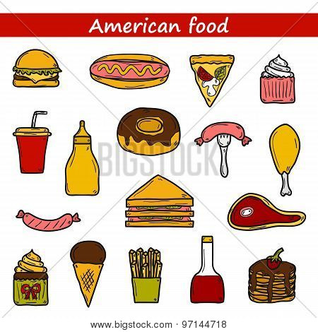 Set of cartoon objects on american food theme: fried potato, hot dog, soda, hamburger, sandwich. Eth
