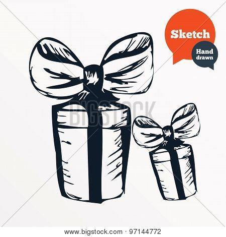 Hand drawn gift box. Sketched present with bow.
