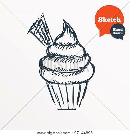 Hand drawn cupcake. Sketched muffin symbol.
