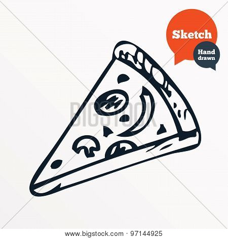 Hand drawn piece of pizza. Sketched pizza slice.