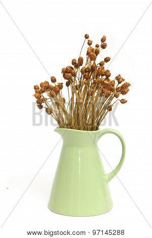 Ceramic Vintage Vase With Dried Flower