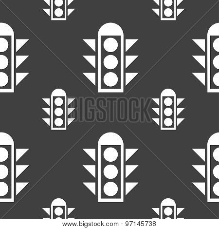 Traffic Light Signal Icon Sign. Seamless Pattern On A Gray Background. Vector