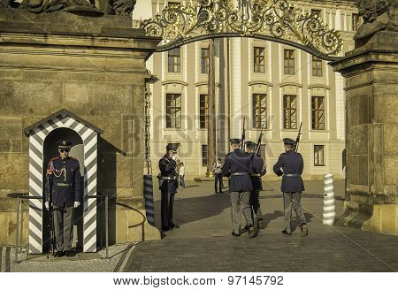 Changing of the guard in Prague castle