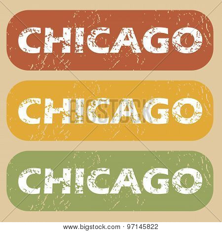 Vintage Chicago stamp set