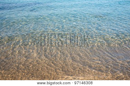 Seashore Clear Water With Sandy Beach For  Background