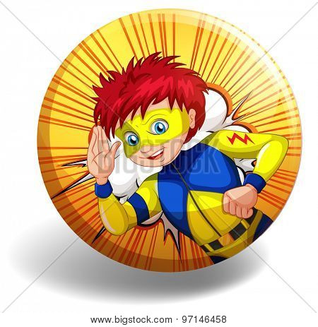 Superhero wearing mask on yellow badge
