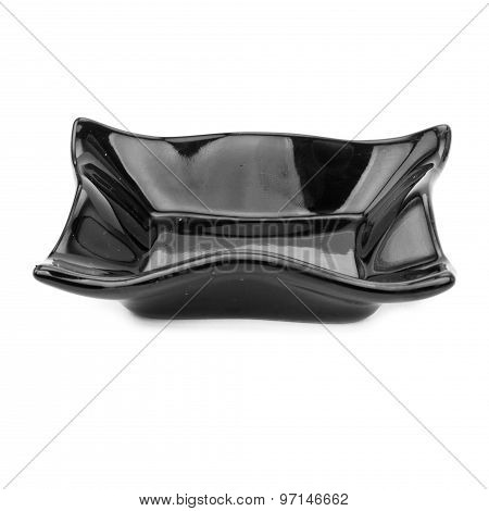 Black Plate Japanese style Isolated on white