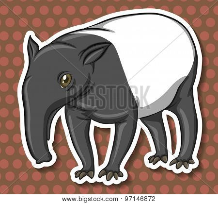 ant-eater on brown polkadot background