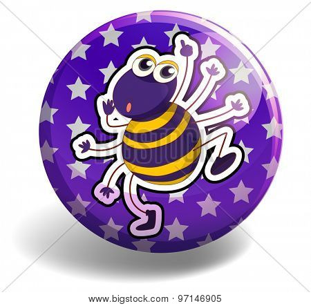 Little spider dancing on round badge