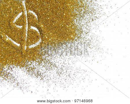 Golden dollar sign of glitter sparkle on white background
