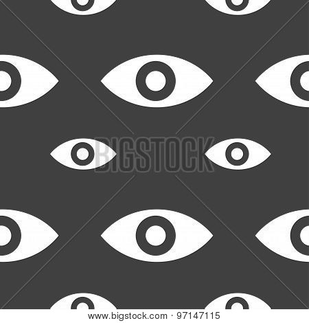 Eye, Publish Content, Sixth Sense, Intuition Icon Sign. Seamless Pattern On A Gray Background. Vecto