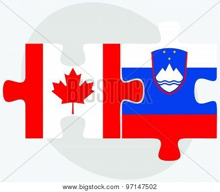 Canada And Slovenia Flags