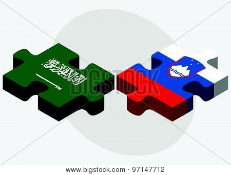 Saudi Arabia And Slovenia Flags In Puzzle