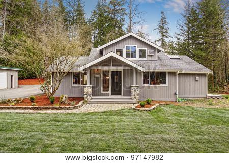 Authentic American Home With Grass.