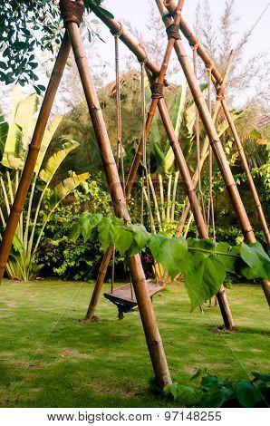Bamboo Swings In Tropical Garden