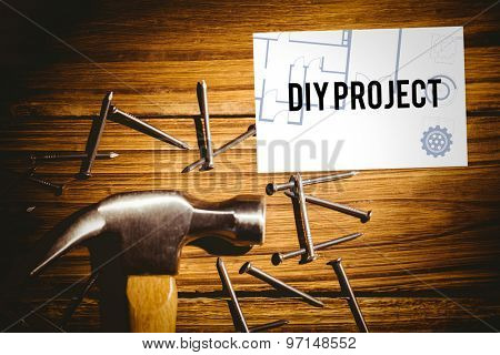 The word diy project and blueprint against white card