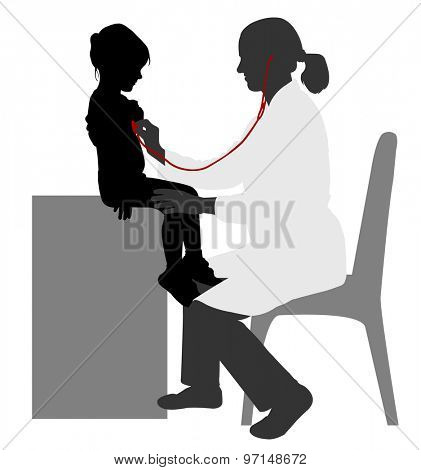 pediatrician examining of child with stethoscope silhouette