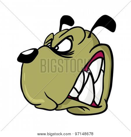 cartoon illustration of an angry dog isolated on white