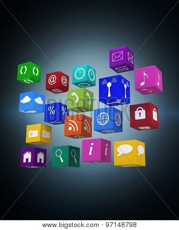 App cubes against blue background with vignette