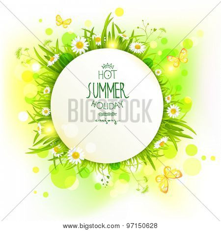 Summer frame with flowers. Place for advertising, cards, invitation and so on.