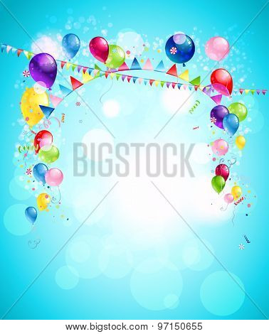 Happy holiday background with colorful balloons, flags and confetti. Illustration for advertising, leaflet, cards, invitation and so on.