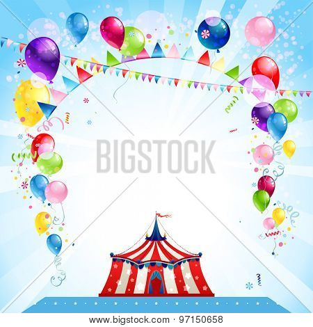 Festive bright card with tent. Entertainment poster for advertisement. Place for text.