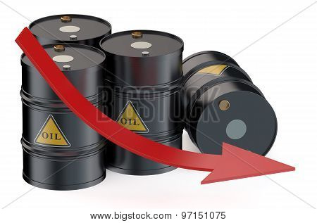 Oil Price Falling Concept With Oil Barrels