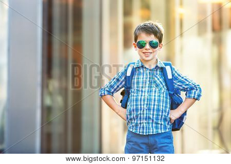 Portrait of cute school boy with backpack