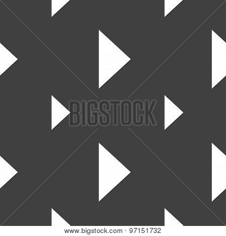Play Button Icon Sign. Seamless Pattern On A Gray Background. Vector