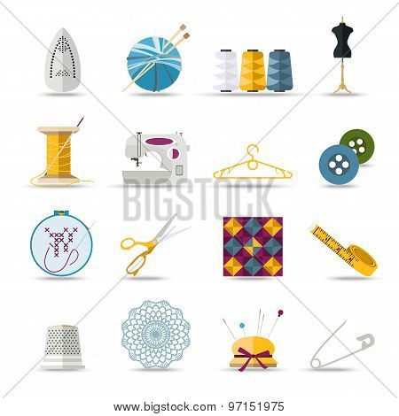 Handmade and sewing isolated icons set. Flat style design.