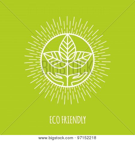 Outline eco friendly monogram or logo. Abstract organic, ecology and bio design element or badge.