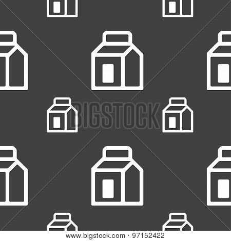 Milk, Juice, Beverages, Carton Package Icon Sign. Seamless Pattern On A Gray Background. Vector