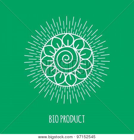 Outline bio product monogram or logo. Abstract organic, ecology and bio design element or badge.