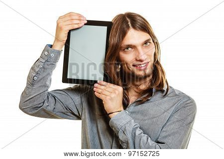 Man Holding Pc Tablet. Blank Screen Copyspace.