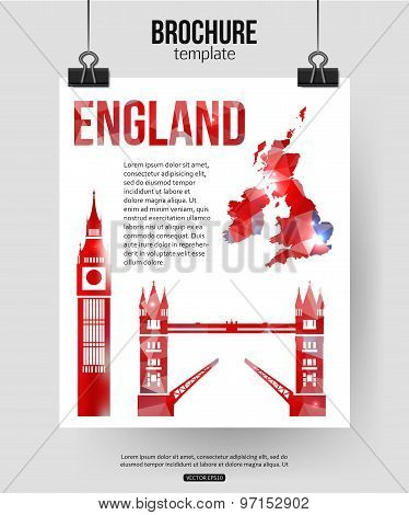 England travel background. Brochure with Great Britain map, Big Ben, Tower Bridge label or logo and