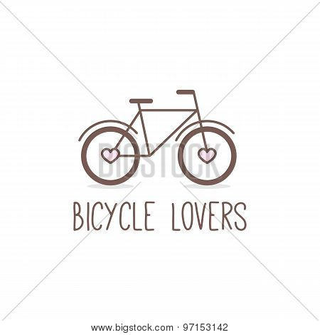 Vector outline cute bicycle logo. Bicycle store logotype.