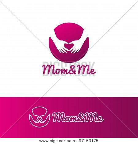 Vector gradient mother care and baby center logotype