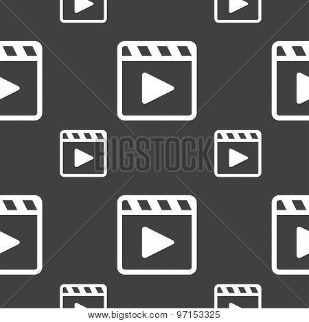 Play Video Icon Sign. Seamless Pattern On A Gray Background. Vector