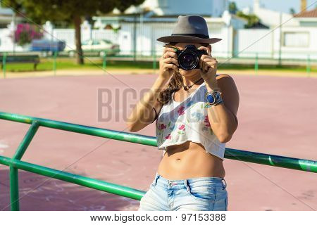 Woman With Hipster Dress With Photo Camera