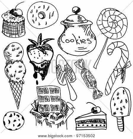 Drawn sweet food