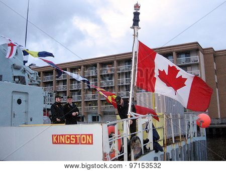 Kingston Lowering The Flag On The Warship 2008