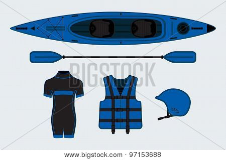 Blue Flat Rafting Set With Kayak, Helmet, Paddle, Sweam Suit And Life Jacket