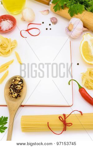Italian Pasta With Vegetables And Mushrooms On Blank Notebook