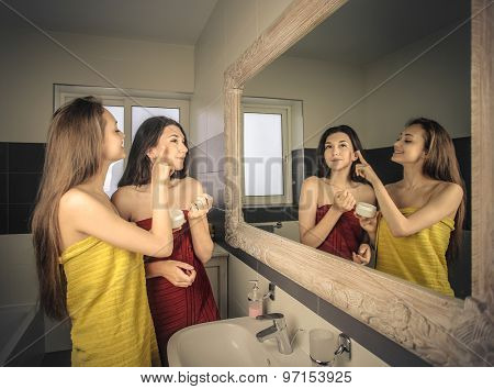 Two girls in the bathroom