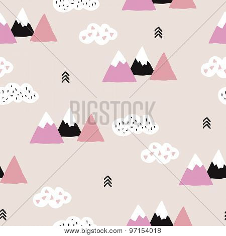 Seamless soft pink winter wonderland geometric japanese fuji mountain theme illustration triangle abstract landscape background pattern in vector