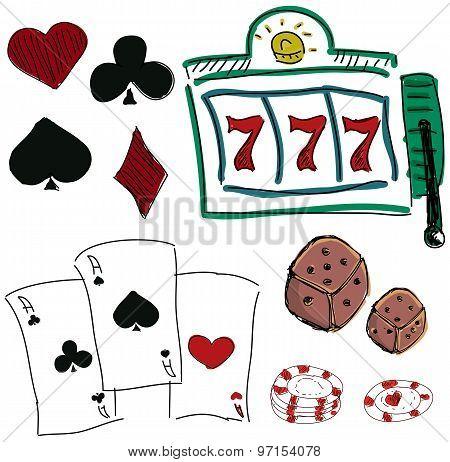 Drawn colorful icons of gambling games
