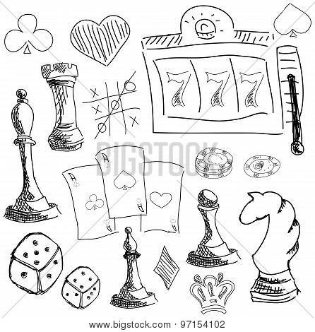 Drawn symbols of gambling games