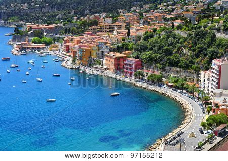 aerial view of Villefranche-sur-Mer in the French Riviera, France, and the Mediterranean sea
