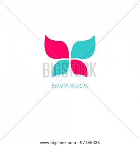 Bright illustration with Butterfly symbol. Logo design.  For beauty salon, spa center, health clinic